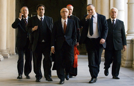 "Still from Paolo Sorrentino's ""Il Divo"" showing a Christian Democrat political ""current"": Aldo Ralli (Ciarrapico), Flavio Bucci (Evangelisti), Carlo Buccirosso (Pomicino), Achille Brugnini (Card. Angelini), Massimo Populizio (Sbardella) e Giorgio Colangeli (Lima)"