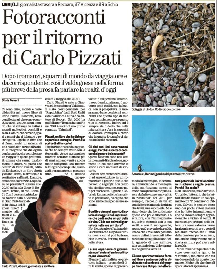 Intervista il Giornale di Vicenza Carlo Pizzati
